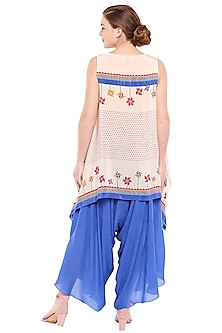 Off White Printed Top With Cobalt Blue Palazzo Pants by Soup by Sougat Paul