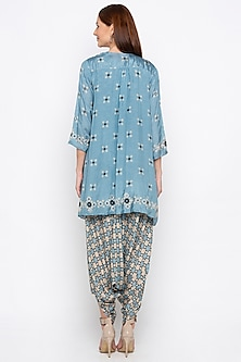 Powder Blue Printed Jumpsuit With Embroidered Jacket by Soup by Sougat Paul