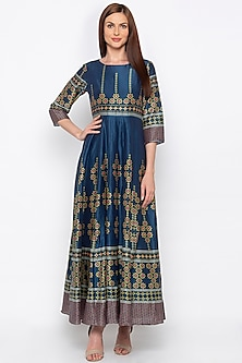 Blue Printed & Embroidered Anarkali by Soup by Sougat Paul