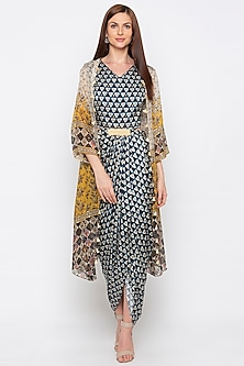 Beige Printed & Embroidered Jacket With Blue Dress by Soup by Sougat Paul