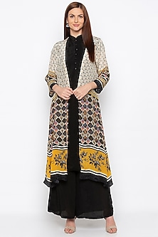 Black Kurta With Palazzo Pants & Beige Printed Jacket by Soup by Sougat Paul