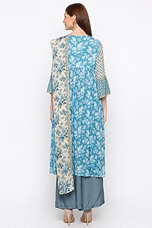 Blue & Off White Embroidered Kurta Set by Soup by Sougat Paul
