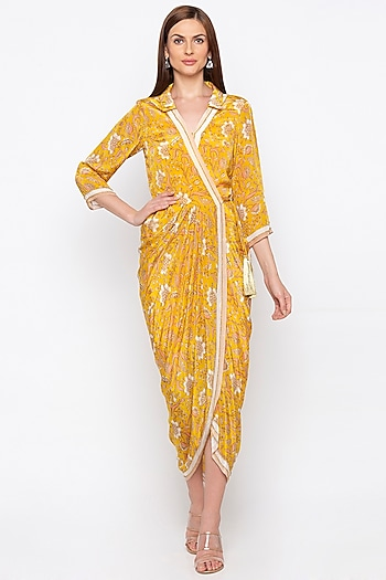 Yellow Embroidered Printed Wrap Dress by Soup by Sougat Paul
