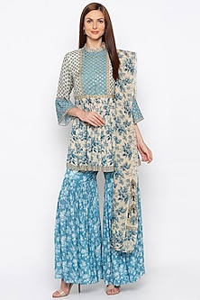 Blue & Off White Embroidered Sharara Set by Soup by Sougat Paul