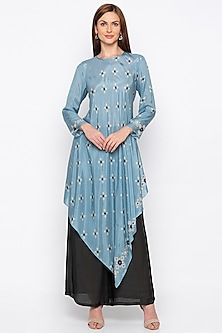 Blue Printed Embroidered Kurta With Black Palazzo Pants by Soup by Sougat Paul