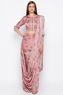 Pink Printed Draped Saree Set by Soup by Sougat Paul