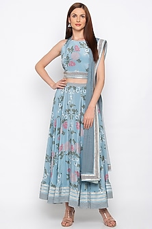 Blue Embroidered Printed Lehenga Set by Soup by Sougat Paul
