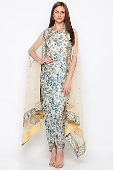 Blue & Off White Embroidered Printed Draped Dress With Cape by Soup by Sougat Paul