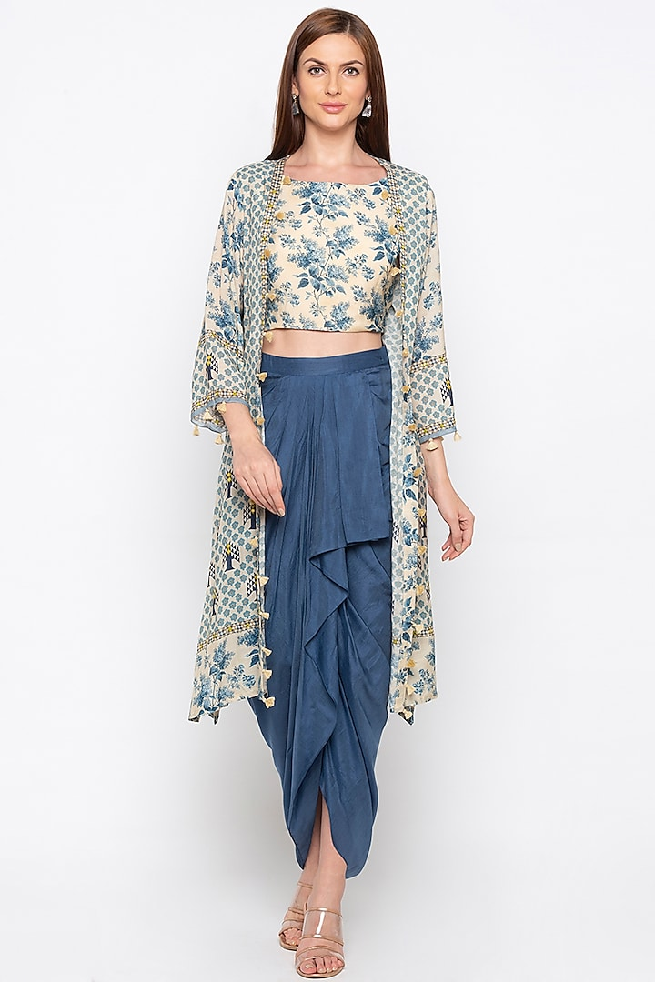 Off White Printed Crop Top With Jacket & Blue Draped Skirt by Soup by Sougat Paul