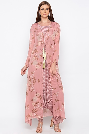 Pink Printed Jumpsuit With Floral Jacket by Soup by Sougat Paul