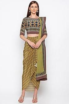 Blue & Green Draped Skirt Set by Soup by Sougat Paul