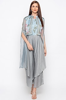 Blue Printed Double Layered Jumpsuit With Embroidered Jacket by Soup by Sougat Paul