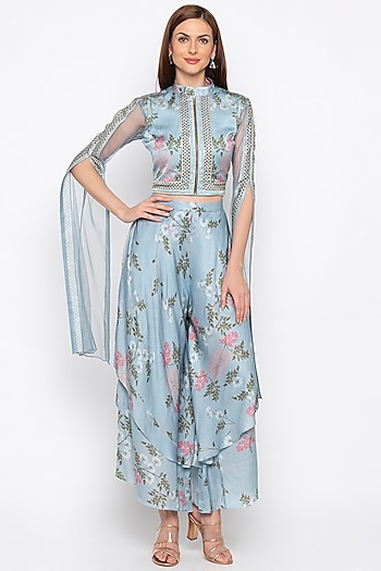 Blue Printed Layered Pants With Embroidered Jacket by Soup by Sougat Paul