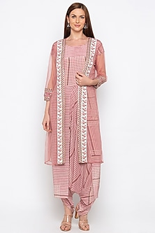 Pink Printed Dhoti Jumpsuit With Jacket by Soup by Sougat Paul