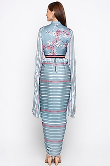 Blue Printed Draped Dress With Embroidered Jacket by Soup by Sougat Paul
