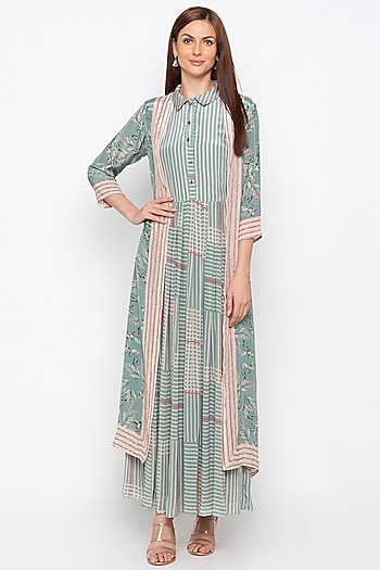 Teal Green & Beige Pleated Dress With Embroidered Jacket by Soup by Sougat Paul
