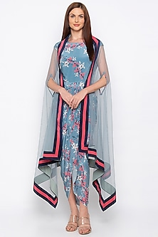 Blue Printed Embroidered Draped Dress With Cape by Soup by Sougat Paul
