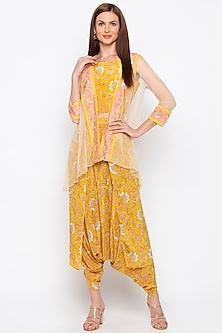 Yellow Printed Dhoti Pants With Crop Top & Jacket by Soup by Sougat Paul
