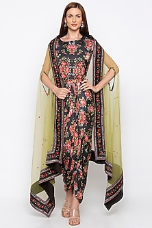 Black Printed Draped Dress With Green Jacket by Soup by Sougat Paul