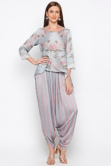 Blue & Pink Printed Top With Dhoti Pants by Soup by Sougat Paul