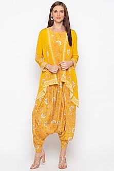 Yellow Embellished Jacket With Printed Jumpsuit by Soup by Sougat Paul