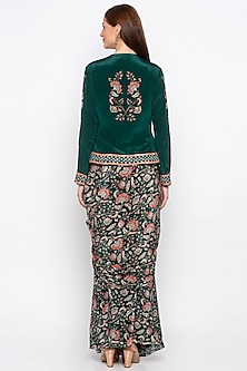 Green Printed & Embroidered Jacket With Draped Skirt by Soup by Sougat Paul