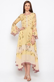 Yellow Printed Embroidered Tunic by Soup by Sougat Paul
