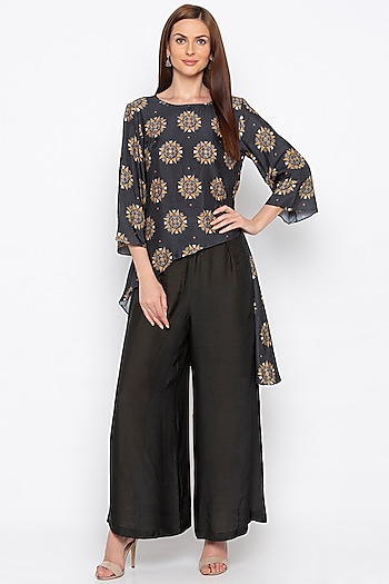 Black & Beige Printed Kurta With Pants by Soup by Sougat Paul