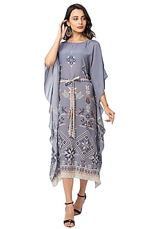 Powder Blue Printed Kaftan by Soup By Sougat Paul