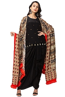 Black Embroidered Cape Set by Soup By Sougat Paul
