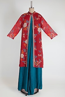 Red Embroidered Jacket With Jumpsuit by Soup by Sougat Paul