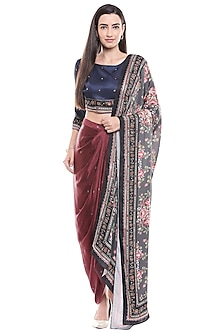 Navy Blue Embroidered Crop Top & Skirt With Dupatta by Soup by Sougat Paul