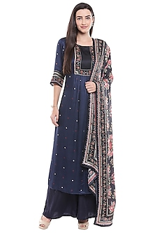 Navy Blue Embroidered Kurta & Palazzo Set by Soup by Sougat Paul-SHOP BY STYLE