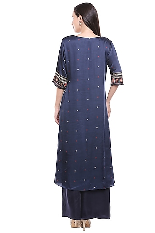 Navy Blue Embroidered Kurta & Palazzo Set by Soup by Sougat Paul