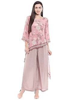 Pink Printed & Embroidered Top With Palazzo Pants by Soup by Sougat Paul