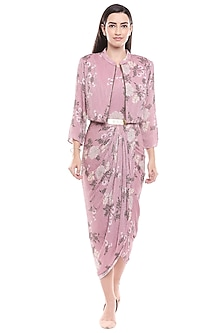 Pink Floral Printed Draped Dress With Jacket by Soup by Sougat Paul