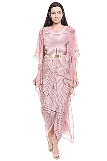 Pink Floral Printed Draped Dress With Cape by Soup by Sougat Paul