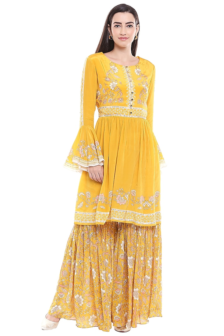 Yellow Embroidered Gathered Top With Sharara Pants by Soup by Sougat Paul