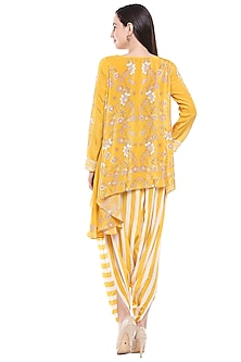 Yellow Embroidered Asymmetric Top With Dhoti Pants by Soup by Sougat Paul