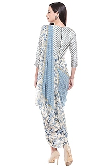 Blue & Off White Printed Draped Dress by Soup by Sougat Paul