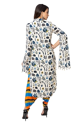 Off White Printed Kurta With Dhoti by Soup By Sougat Paul