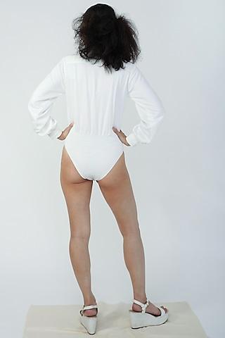 White Bodysuit Shirt by Surendri By Yogesh Chaudhary