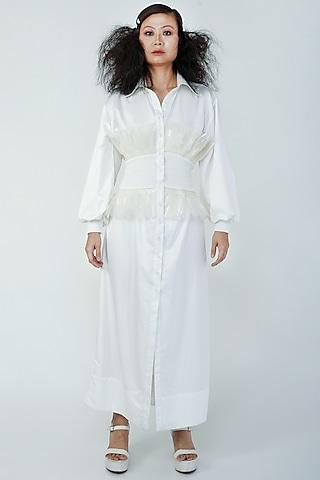 White Oversized Shirt by Surendri By Yogesh Chaudhary