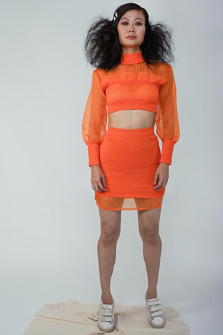 Orange Nylon Skirt Set by Surendri By Yogesh Chaudhary
