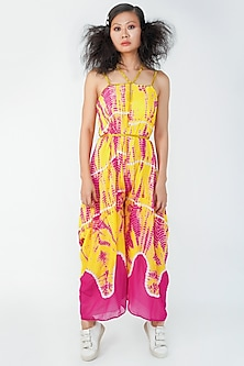 Pink & Yellow Embroidered Jumpsuit by Surendri By Yogesh Chaudhary-SURENDRI BY YOGESH CHAUDHARY