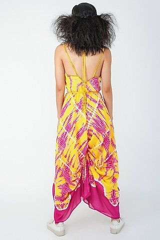 Pink & Yellow Embroidered Jumpsuit by Surendri By Yogesh Chaudhary