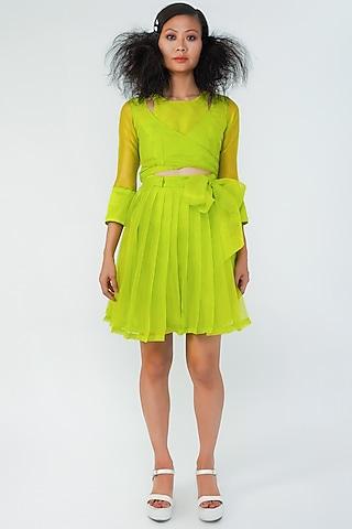 Neon Green Short Dress by Surendri By Yogesh Chaudhary