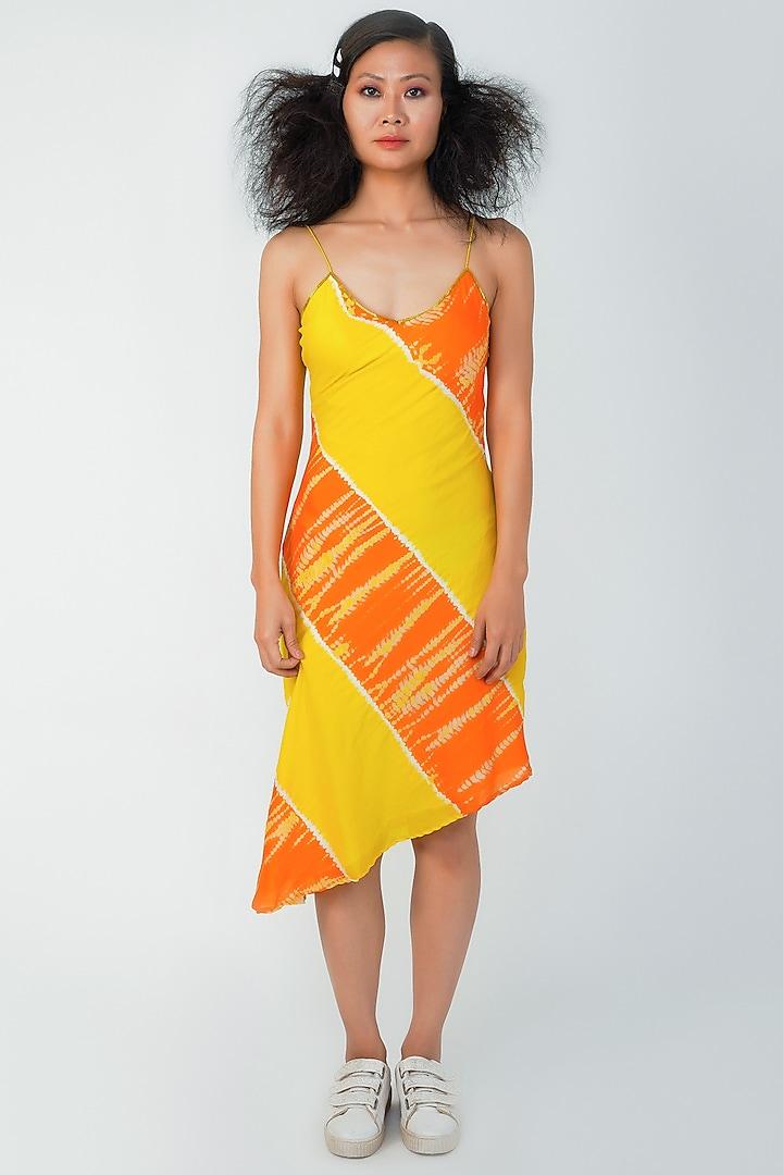 Yellow Asymmetrical Dress by Surendri By Yogesh Chaudhary