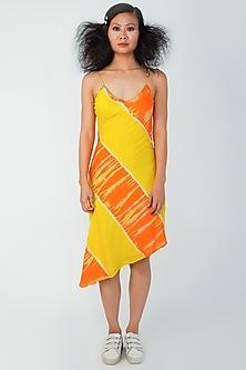 Yellow Asymmetrical Dress by Surendri By Yogesh Chaudhary-SURENDRI BY YOGESH CHAUDHARY
