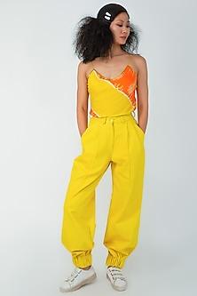 Lemon Yellow Pleated Pants by Surendri By Yogesh Chaudhary-SURENDRI BY YOGESH CHAUDHARY